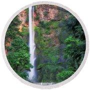Multnomah Falls Portland Oregon Round Beach Towel