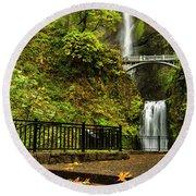 Multnomah Falls,oregon Round Beach Towel