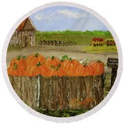 Mum And Pumpkin Harvest Round Beach Towel