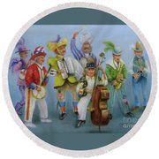 Mummers Jam Session Round Beach Towel