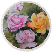 Round Beach Towel featuring the painting Mum's Roses by Sandra Phryce-Jones