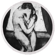Round Beach Towel featuring the photograph Munch The Kiss, 1895 by Granger