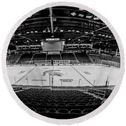 Munn Ice Arena Black And White  Round Beach Towel by John McGraw