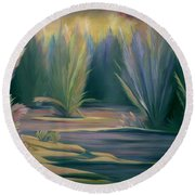 Mural Field Of Feathers Round Beach Towel