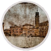 Round Beach Towel featuring the photograph Murano, Italy - Canale Degli Angeli by Mark Forte