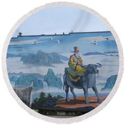 Mural In Chinatown Vancouver Round Beach Towel