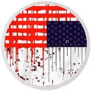 America In Distress Round Beach Towel