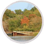 Round Beach Towel featuring the photograph Murphy Mill Dam/bridge by Jerry Battle