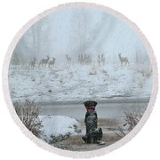 Murphy Watches The Deer Round Beach Towel by Eric Tressler