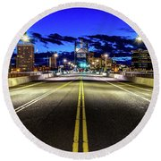 Murray Morgam Bridge During Blue Hour In Hdr Round Beach Towel by Rob Green