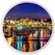 Murray Morgan Bridge View During Blue Hour In Hdr Round Beach Towel