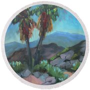 Round Beach Towel featuring the painting Murray Trail Andreas Canyon by Diane McClary