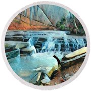 Muscatatuck Falls Touch Of Blue Abstract Round Beach Towel