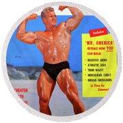 Muscle Builder Mag May 1956 Round Beach Towel