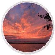 Muscongus Sound Sunrise Round Beach Towel