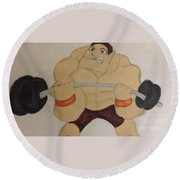 Muscular Man Round Beach Towel