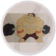 Muscular Man Round Beach Towel