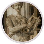 Round Beach Towel featuring the photograph Achilleion, Corfu, Greece - The Muse Terpsichore by Mark Forte