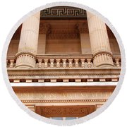 Round Beach Towel featuring the photograph Museum And Art Gallery Entrance by Baggieoldboy