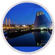Museum Of Glass At Blue Hour Round Beach Towel