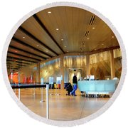 Museum Of Glass Interior Round Beach Towel