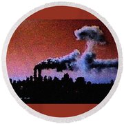 Mushroom Cloud From Flight 175 Round Beach Towel