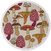 Mushroom Pattern Round Beach Towel