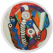 Mushroom Powered Engine 01 - Bellingham - Lewisham, Round Beach Towel