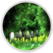 Round Beach Towel featuring the painting Mushrooms Under The Tree by Odon Czintos
