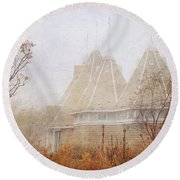 Round Beach Towel featuring the photograph Music And Fog by Heidi Hermes