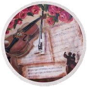 Music And Roses Round Beach Towel by Vesna Martinjak