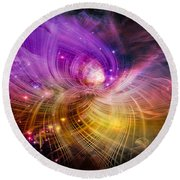 Round Beach Towel featuring the digital art Music From Heaven by Carolyn Marshall