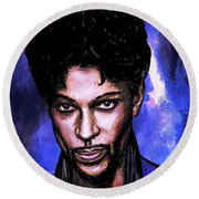 Round Beach Towel featuring the painting Music Legend  Prince by Andrzej Szczerski