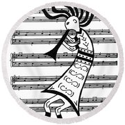 Music Man Kokopelli Round Beach Towel by Susie WEBER