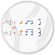 Round Beach Towel featuring the digital art Music Notes 1 by David Bridburg