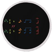 Round Beach Towel featuring the digital art Music Notes 35 by David Bridburg