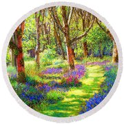 Round Beach Towel featuring the painting Music Of Light, Bluebell Woods by Jane Small