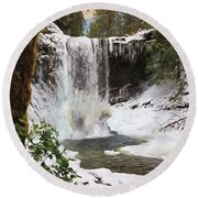 Round Beach Towel featuring the photograph Music Of Nature - Waterfall Art by Jordan Blackstone