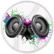 Music Speakers Colorful Design Round Beach Towel