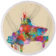 Round Beach Towel featuring the digital art Music Strikes Fire From The Heart by Nikki Marie Smith