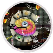 Music Therapy Round Beach Towel