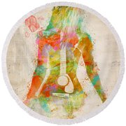 Music Was My First Love Round Beach Towel by Nikki Marie Smith