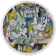 Musical Abstraction  Round Beach Towel by Rita Fetisov