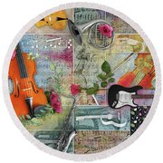 Musical Garden Collage Round Beach Towel
