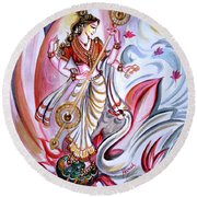 Musical Goddess Saraswati - Healing Art Round Beach Towel