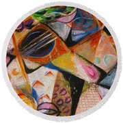 Musical Pastels Round Beach Towel