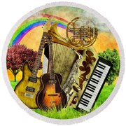 Musical Wonderland Round Beach Towel