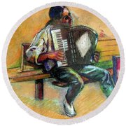Round Beach Towel featuring the drawing Musician With Accordion by Stan Esson
