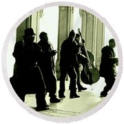 Round Beach Towel featuring the photograph Musicians In The Park by Sandy Moulder