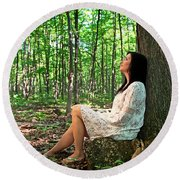 Round Beach Towel featuring the photograph Musing.. by Nina Stavlund